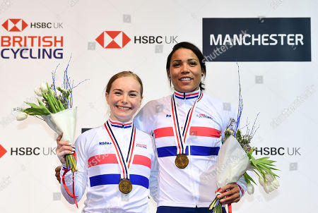 Stock Image of Blaine Ridge-Davis and Shanaze Reade on the podium after winning gold in the Women's Team Sprint.
