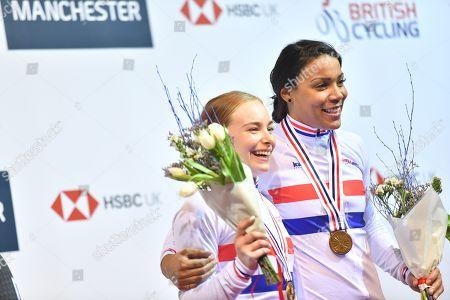 Stock Photo of Blaine Ridge-Davis and Shanaze Reade on the podium after winning gold in the Women's Team Sprint.