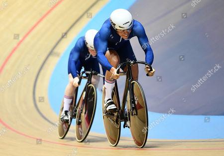 Shanaze Reade and Blaine Ridge-Davis ride during the Women's Team Sprint Qualifying.