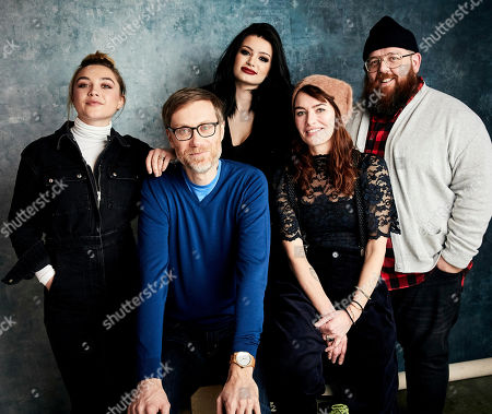 "Florence Pugh, Stephen Merchant, Paige, Lena Headey, Nick Frost. Florence Pugh, from left, writer/director Stephen Merchant, Paige, Lena Headey, and Nick Frost pose for a portrait to promote the film ""Fighting with My Family"" at the Salesforce Music Lodge during the Sundance Film Festival, in Park City, Utah"