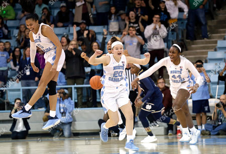 Janelle Bailey, Leah Church, Stephanie Watts. North Carolina's Stephanie Watts (5), Leah Church (20) and Janelle Bailey (44) celebrate following their team's 78-73 win over Notre Dame in an NCAA college basketball game in Chapel Hill, N.C