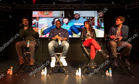 """Dave Hill, Stephanie Laing, Sam Richardson, Ben Lyons. Dave Hill, Stephanie Laing, Sam Richardson and Ben Lyons during the """"Bootstrapped"""" panel at the Last Call Presents the Complex Music in Film Summit, at Park City Live, in Park City, Utah"""