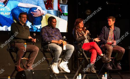 "Dave Hill, Stephanie Laing, Sam Richardson, Ben Lyons. Dave Hill, Stephanie Laing, Sam Richardson and Ben Lyons during the ""Bootstrapped"" panel at the Last Call Presents the Complex Music in Film Summit, at Park City Live, in Park City, Utah"