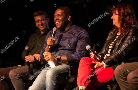"Dave Hill, Stephanie Laing, Sam Richardson. Dave Hill, Stephanie Laing and Sam Richardson during the ""Bootstrapped"" panel at the Last Call Presents the Complex Music in Film Summit, at Park City Live, in Park City, Utah"