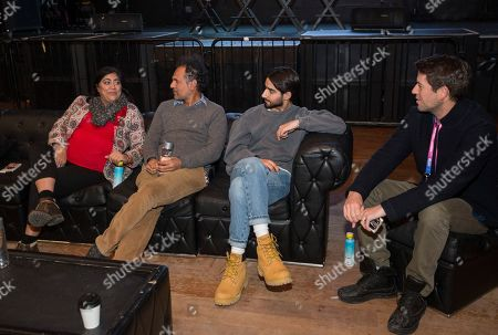 """Gurinder Chadha, Sarfraz Manzoor, Viveik Kalra, Ben Lyon. Gurinder Chadha, Sarfraz Manzoor, Viveik Kalra and Ben Lyons during the """"Blinded By The Light"""" panel at the Last Call Presents the Complex Music in Film Summit, at Park City Live, in Park City, Utah"""