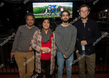 """Sarfraz Manzoor, Gurinder Chadha, Viveik Kalra, Ben Lyons. Sarfraz Manzoor, Gurinder Chadha, Viveik Kalra and Ben Lyons during the """"Blinded By The Light"""" panel at the Last Call Presents the Complex Music in Film Summit, at Park City Live, in Park City, Utah"""