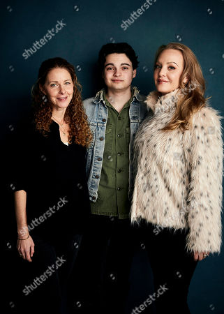 """Stock Image of Debra Eisenstadt, Max Burkholder, Wendi McLendon-Covey. Writer/director Debra Eisenstadt, from left, Max Burkholder and Wendi McLendon-Covey pose for a portrait to promote the film """"Imaginary Order"""" at the Salesforce Music Lodge during the Sundance Film Festival, in Park City, Utah"""
