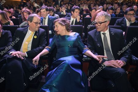 Catalonia's Regional President Quim Torra (L), Spanish Culture Minister Jose Guirao (R) and Catalonia's Cinema Academy President Isona Passola (C) talk before the 11th Gaudi Awards granted by the Academy of the Catalan Cinema in Barcelona, Spain, Catalonia, 27 January 2019.