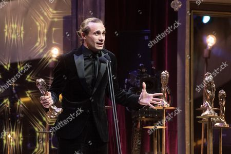 Stock Picture of Oriol Pla receives the Best Secondary Actor Award for the film 'Petra' during the 11th Gaudi Awards granted by the Academy of the Catalan Cinema in Barcelona, Spain, Catalonia, 27 January 2019.