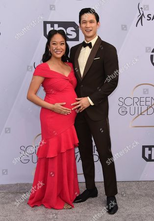 Stock Image of Shelby Rabara, Harry Shum Jr. Shelby Rabara, left, and Harry Shum Jr. arrive at the 25th annual Screen Actors Guild Awards at the Shrine Auditorium & Expo Hall, in Los Angeles