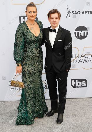 Stock Picture of Marianna Palka (L) and Xavier Samuel arrive for the 25th annual Screen Actors Guild Awards ceremony at the Shrine Auditorium in Los Angeles, California, USA, 27 January 2019.