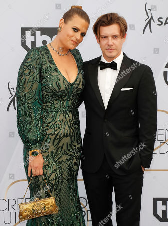 Marianna Palka (L) and Xavier Samuel arrive for the 25th annual Screen Actors Guild Awards ceremony at the Shrine Auditorium in Los Angeles, California, USA, 27 January 2019.