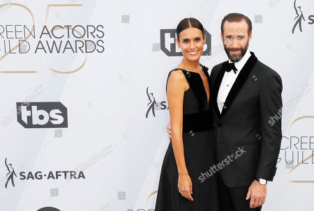 Maria Dolores Dieguez (L) and Joseph Fiennes (R) arrive for the 25th annual Screen Actors Guild Awards ceremony at the Shrine Auditorium in Los Angeles, California, USA, 27 January 2019.