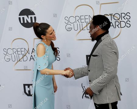 Eddie Griffin (R) and Jackie Tohn arrives for the 25th annual Screen Actors Guild Awards ceremony at the Shrine Auditorium in Los Angeles, California, USA, 27 January 2019.