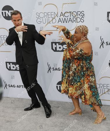 Carlos Ponce (L) and Luenell arrives for the 25th annual Screen Actors Guild Awards ceremony at the Shrine Auditorium in Los Angeles, California, USA, 27 January 2019.