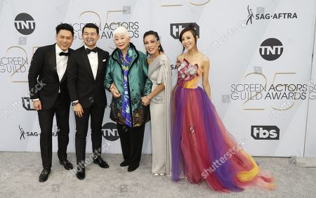 Stock Picture of Jon M. Chu, Ronny Chieng, Lisa Lu, Tan Kheng Hua and Fiona Xie arrives for the 25th annual Screen Actors Guild Awards ceremony at the Shrine Auditorium in Los Angeles, California, USA, 27 January 2019.