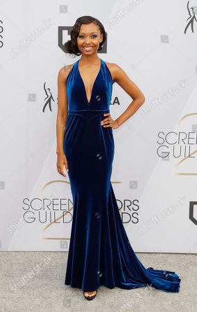 Ashleigh LaThrop arrives for the 25th annual Screen Actors Guild Awards ceremony at the Shrine Auditorium in Los Angeles, California, USA, 27 January 2019.
