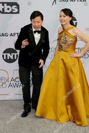 Ken Jeong (L) and Tran Jeong (R) arrive for the 25th annual Screen Actors Guild Awards ceremony at the Shrine Auditorium in Los Angeles, California, USA, 27 January 2019.