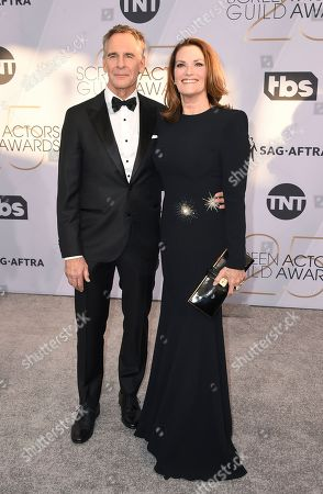 Stock Image of Scott Bakula, Chelsea Field. Scott Bakula, left, and Chelsea Field arrive at the 25th annual Screen Actors Guild Awards at the Shrine Auditorium & Expo Hall, in Los Angeles