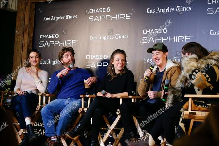 """Jenny Slate, Zach Galifianakis, Rebecca Dinerstein, Alex Sharp. Jenny Slate, Zach Galifianakis, Rebecca Dinerstein and Alex Sharp talk during a panel for """"The Sunlit Night"""" at the LA Times Live at Sundance Film Festival presented by Chase Sapphire, in Park City, Utah"""