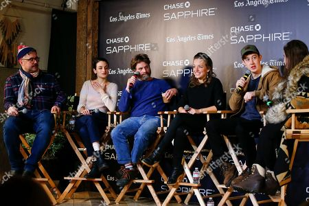 """David Wnendt, Jenny Slate, Zach Galifianakis, Rebecca Dinerstein, Alex Sharp. David Wnendt, Jenny Slate, Zach Galifianakis, Rebecca Dinerstein and Alex Sharp talk during a panel for """"The Sunlit Night"""" at the LA Times Live at Sundance Film Festival presented by Chase Sapphire, in Park City, Utah"""