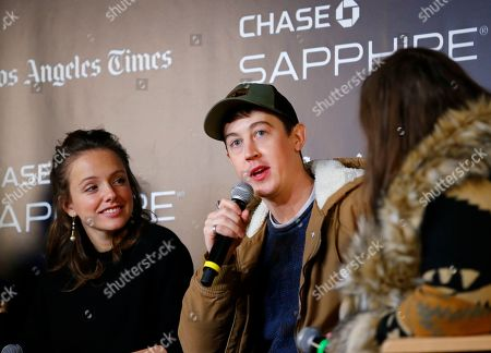 """Jenny Slate, Zach Galifianakis. Alex Sharp talks during a panel for """"The Sunlit Night"""" at the LA Times Live at Sundance Film Festival presented by Chase Sapphire, in Park City, Utah"""