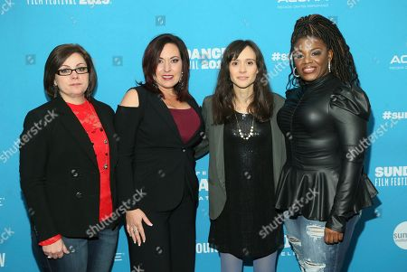 "Paula Jean Swearengin, Amy Vilela, Cori Bush, Rachel Lears. Documentary subjects, Paula Jean Swearengin, left, Amy Vilela, second left, and Cori Bush, right, pose with filmmaker Rachel Lears, third left, at the premiere of ""Knock Down the House"", a documentary about them as well as Rep. Alexandria Ocasio-Cortez, D-N.Y., not pictured, during the 2019 Sundance Film Festival, in Park City, Utah"