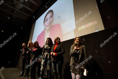 "Alexandria Ocasio-Cortez, Rachel Lears, Paula Jean Swearengin, Amy Vilela, Cori Bush. Filmmaker Rachel Lears, right, introduces Rep. Alexandria Ocasio-Cortez, D-N.Y. over video conference at the MARC theater for a Q&A session along with other subjects and after the premiere screening of the documentary ""Knock Down the House"", during the 2019 Sundance Film Festival, in Park City, Utah"
