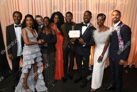 "Isaach de Bankole, Angela Bassett, Andy Serkis, Lupita Nyong'o, Sydelle Noel, Chadwick Boseman, Sterling K. Brown, Danai Gurira, Michael B. Jordan. Isaach de Bankole, from left, Angela Bassett, Andy Serkis, Lupita Nyong'o, Sydelle Noel, Chadwick Boseman, Sterling K. Brown, Danai Gurira and Michael B. Jordan, winners of the award for outstanding performance by a cast in a motion picture for ""Black Panther,"" attend the 25th annual Screen Actors Guild Awards at the Shrine Auditorium & Expo Hall, in Los Angeles"