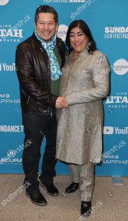 Paul Mayeda Berges (L) and British director Gurinder Chadha (R) arrives for the premiere of 'Blinded By The Light' at the 2019 Sundance Film Festival in Park City, Utah, USA, 27 January 2019. The festival runs from 24 January to 02 February 2019.