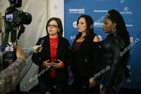 "Paula Jean Swearengin, Amy Vilela, Cori Bush. Documentary subjects, Paula Jean Swearengin, left, Amy Vilela, center, and Cori Bush, right, are interviewed at the premiere of ""Knock Down The House"", a documentary about them as well as Rep. Alexandria Ocasio-Cortez, D-N.Y., not pictured, during the 2019 Sundance Film Festival, in Park City, Utah"