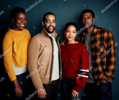 Stock Image of Producer Joy Ganes, from left, director Rashaad Ernesto Green, Zora Howard, and Joshua Boone