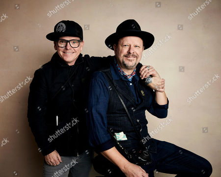 """T.G. Herrington, Danny Clinch. Directors T.G. Herrington, left, and Danny Clinch pose for a portrait to promote the film """"A Tuba to Cuba"""" at the Salesforce Music Lodge during the Sundance Film Festival, in Park City, Utah"""