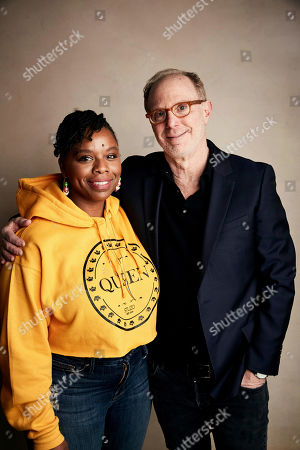 """Patrisse Cullors, Kenneth Paul Rosenberg. Patrisse Cullors, left, and Director Kenneth Paul Rosenberg pose for a portrait to promote the film """"Bedlam"""" at the Salesforce Music Lodge during the Sundance Film Festival, in Park City, Utah"""