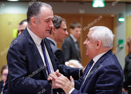 French Agriculture and Fisheries minister Didier Guillaume (L) and Petre Daea, Romanian Minister of Agriculture and Rural Development, during an European Agriculture and Fisheries council at the European Council in Brussels, Belgium, 28 January 2019.