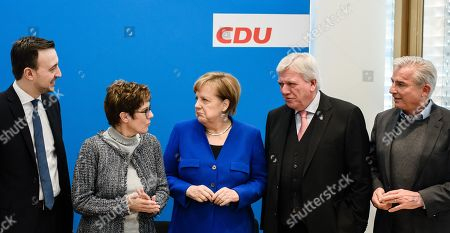 (L-R)  Christian Democratic Union (CDU) Secretary General Paul Ziemiak, Christian Democratic Union (CDU) party chairwoman Annegret Kramp-Karrenbauer, German Chancellor Angela Merkel, Premier of Hesse Volker Bouffier and Christian Democratic Union (CDU) vice-chairman Thomas Strobl during the beginning of a party board meeting at the CDU headquarter in Berlin, Germany, 28 January 2019. Media report, that heads of Christian Democratic Union (CDU) and of the Social Democratic Party (SPD) will discuss, during their meetings on Monday, a so called 'east offensive' to improve the East German loan, infrastructure and pension.