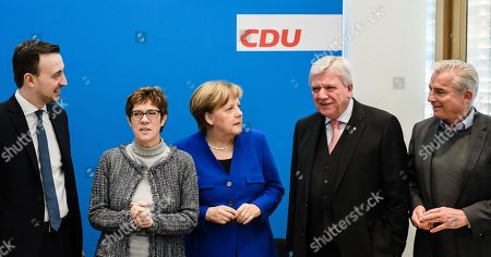 Stock Image of (L-R)  Christian Democratic Union (CDU) Secretary General Paul Ziemiak, Christian Democratic Union (CDU) party chairwoman Annegret Kramp-Karrenbauer, German Chancellor Angela Merkel, Premier of Hesse Volker Bouffier and Christian Democratic Union (CDU) vice-chairman Thomas Strobl during the beginning of a party board meeting at the CDU headquarter in Berlin, Germany, 28 January 2019. Media report, that heads of Christian Democratic Union (CDU) and of the Social Democratic Party (SPD) will discuss, during their meetings on Monday, a so called 'east offensive' to improve the East German loan, infrastructure and pension.