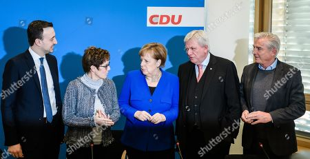 (L-R) Christian Democratic Union (CDU) Secretary General Paul Ziemiak, Christian Democratic Union (CDU) party chairwoman Annegret Kramp-Karrenbauer, German Chancellor Angela Merkel, Premier of Hesse State Volker Bouffier and Christian Democratic Union (CDU) vice-chairman Thomas Strobl during the beginning of a party board meeting at the CDU headquarter in Berlin, Germany, 28 January 2019. Media report, that heads of Christian Democratic Union (CDU) and of the Social Democratic Party (SPD) will discuss a so called 'east offensive' to improve the East German loan, infrastructure and pension.
