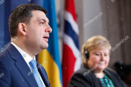 Prime Minister of Ukraine Volodymyr Groysman (L) and Norway's Prime Minister Erna Solberg attend a joint press conference in Oslo, Norway, 28 January 2019. Volodymyr Groysman is on a working visit in Norway.