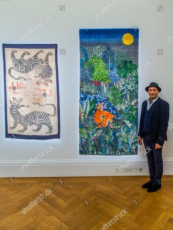 Raqib Shaw with his Ode to the Tigers of Bandhavgarh, 2018-2019, £25,000.00 - Tomorrow's Tigers Exhibition