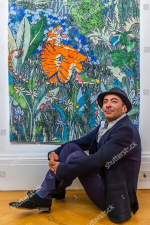 Stock Photo of Raqib Shaw with his Ode to the Tigers of Bandhavgarh, 2018-2019, £25,000.00 - Tomorrow's Tigers Exhibition