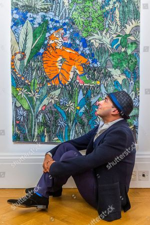 Stock Image of Raqib Shaw with his Ode to the Tigers of Bandhavgarh, 2018-2019, £25,000.00 - Tomorrow's Tigers Exhibition