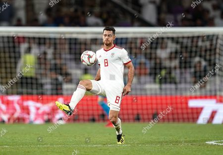 Morteza Pouraliganji of Iran during Iran v Japan at the Hazza bin Zayed Stadium in Abu Dhabi, United Arab Emirates, AFC Asian Cup, Asian Football championship