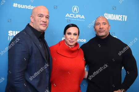 Stock Picture of Hiram Garcia, Dany Garcia and Dwayne Johnson