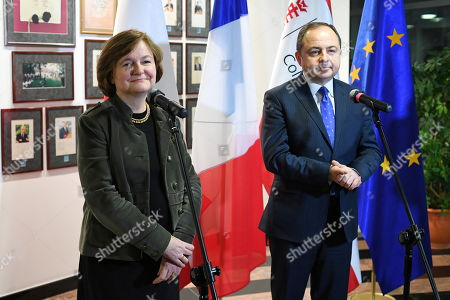 Polish minister for European affairs Konrad Szymanski (R) and French minister for European affairs Nathalie Loiseau (L) attend a press conference after a debate the future of the European Union in Warsaw, Poland, 28 January 2019. Nathalie Loiseau is on a two-day visit in Poland.