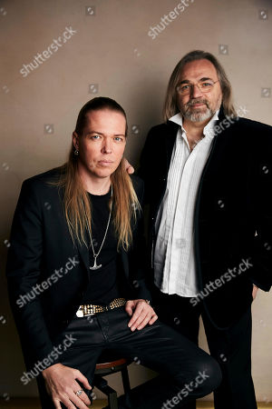 """Eicca Toppinen, Victor Kossakovsky. Eicca Toppinen, left, and writer/director Victor Kossakovsky pose for a portrait to promote the film """"Aquarela"""" at the Salesforce Music Lodge during the Sundance Film Festival, in Park City, Utah"""