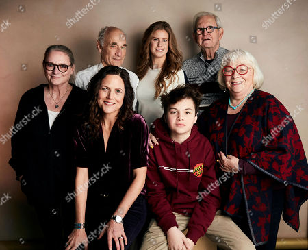 "Stock Photo of Colleen Connolly, John Brodsky, Tahria Sheather, Paul Taylor, Irene Taylor Brodsky, Jonas Brodsky, Sally Taylor. Colleen Connolly, from top left, John Brodsky, Tahria Sheather, Paul Taylor, director Irene Taylor Brodsky, from bottom left, Jonas Brodsky and Sally Taylor pose for a portrait to promote the film ""Moonlight Sonata: Deafness in Three Movements"" at the Salesforce Music Lodge during the Sundance Film Festival, in Park City, Utah"