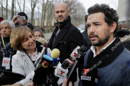 Actor Alejandro Edda talks to reporters outside federal court in the Brooklyn borough of New York, . The actor, who portrayed the notorious drug lord El Chapo on a Netflix series, appeared at the kingpin's trial