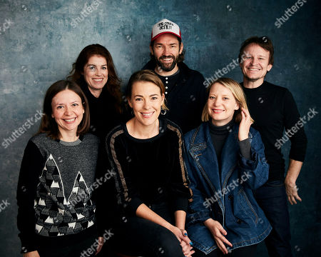 """Natalie Farrey, Michele Bennett, Mirrah Foulkes, Nash Edgerton, Mia Wasikowska, Damon Herriman. Producer Natalie Farrey, from left, producer Michele Bennett, writer/director Mirrah Foulkes, producer Nash Edgerton, Mia Wasikowska and Damon Herriman pose for a portrait to promote the film """"Judy and Punch"""" at the Salesforce Music Lodge during the Sundance Film Festival, in Park City, Utah"""