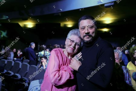 Pilar Bardem (L) poses with her son Carlos Bardem (R) before to receive the Medal of Honor during Cinema Writers Circle Awards gala held at Press Palace in Madrid, Spain, 28 January 2019.